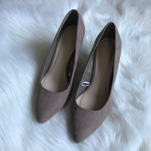 Forever 21 faux suede pointy toe wedge pumps